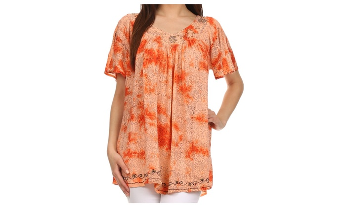 Short Sleeve Vine Print V-neck Peasant Top with Beads and Embroidery