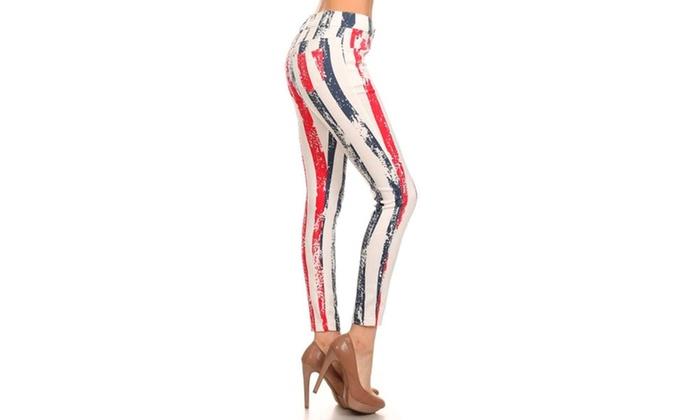 All Stripe American Flag Jeggings Pants