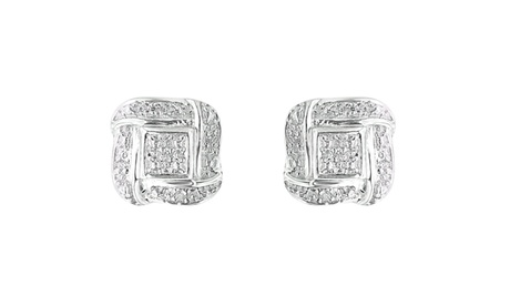 Sterling Silver 0.04ct TDW Round Cut Diamond Square Stud Earrings (H-I,I2) 977450e4-e4fb-4d3b-8551-9630eb661f7c