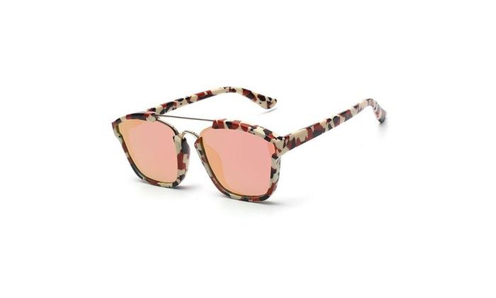 Fashion Sunglasses Colored Frame Mirrored Lens