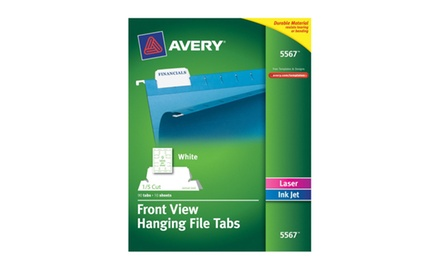 Avery Self-Adhesive Printable Hanging File Tabs, Laser/Inkjet, 1/5 Cut, White, Pack of 90 (05567)