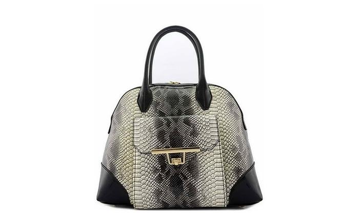 Women's Designer Patent Python Top Handle Bag LF15703 – Black