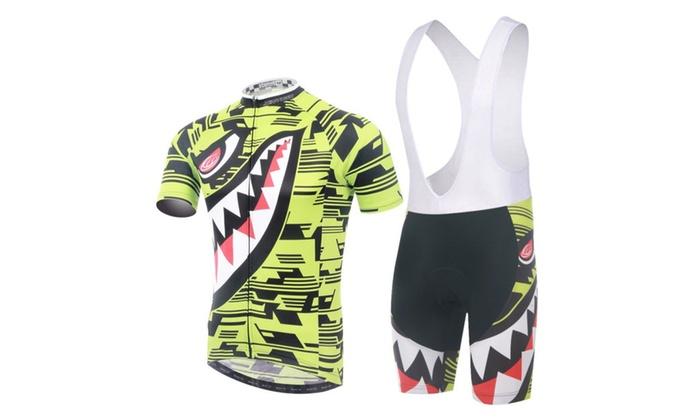 Cycling Team Wear Short Shirt Jersey + Bib Short Shark Pattern