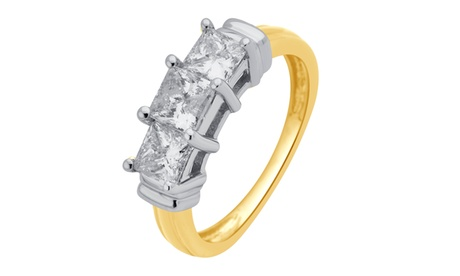1.50 cttw 3 Stone Princess Diamond Ring 14KT Yellow Gold Jewelry for Women