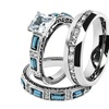 His & Hers Stainless Steel 2.60 Ct Cz Bridal Set & Men's Eternity Band