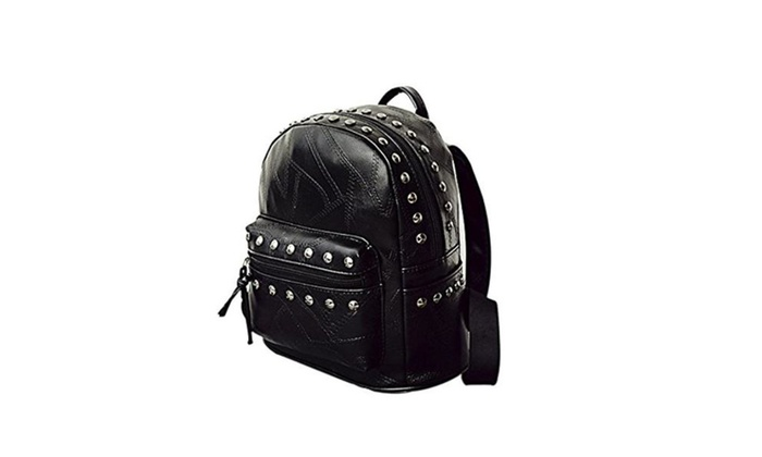 School Bag Magicub Women Rivet Travel Shoulder Bag PU Leather Backpack
