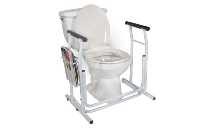 toilet safety support and built in magazine rack groupon. Black Bedroom Furniture Sets. Home Design Ideas