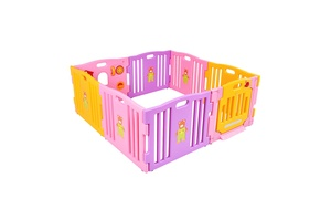 Pink 8 Panel Baby Playpen Kids Safety Play Center Yard Home