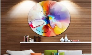 Creative Flower in Multiple Colors' Disc Large Floral Artwork on Metal