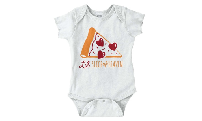 f1df9d5eb Slice of Heaven Pizza Funny Shirt Cute Baby Clothes Cool Gift Romper ...