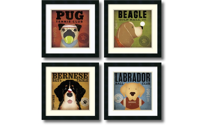 Stephen Fowler Sport Dogs Set Of 4 Framed Art Print