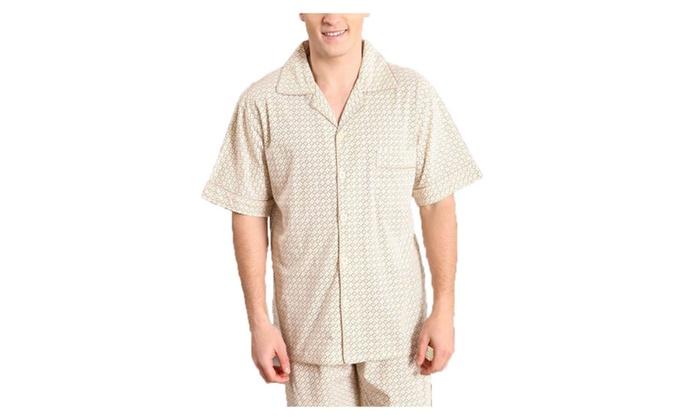 Men's Casual Printed Long Buttons Up Short Sleeve Pajamas Set