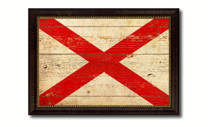 Alabama State Flag Home Décor Framed Room Wall Canvas Art Gift 6007 ...