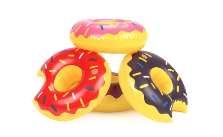 3 Pack Inflatable Donut Floating Drink Can Bottle Cup Holder for Pool d5bf7730-25e2-429d-b41c-e4f6abadd530