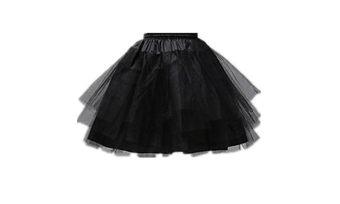 Girls 3 Layers Wedding Flower Girl Petticoat (One Size) - Black / One Size