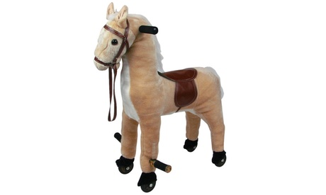 Plush Walking Horse with Wheels and Foot Rest 8b5207b9-96d6-499e-801f-fa68a67239be