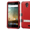 Insten Hard Coated Silicone Case w stand For ZTE Prestige Red Black