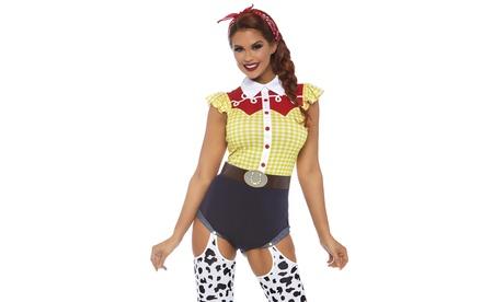 Leg Avenue Women's Giddy Up Cowgirl Set Cute Western Halloween Costume