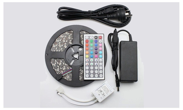 Waterproof Colorful LED Light Strip with Adapter & Remote Control