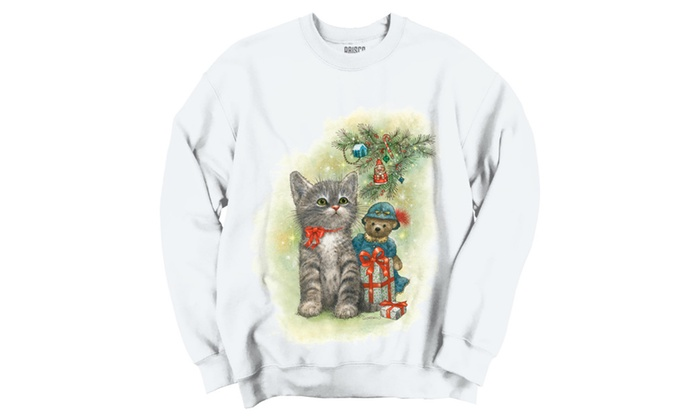 Christmas Kitten and Toys Under Tree Crewneck Sweatshirt