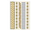 Zodaca Gold/Siver Temporary Tattoo Sticker Triangle and Rhombus Lines