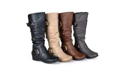 db6d8ab135f Shop Groupon Journee Collection Womens Wide-Calf Slouch Buckle Knee-High  Boots