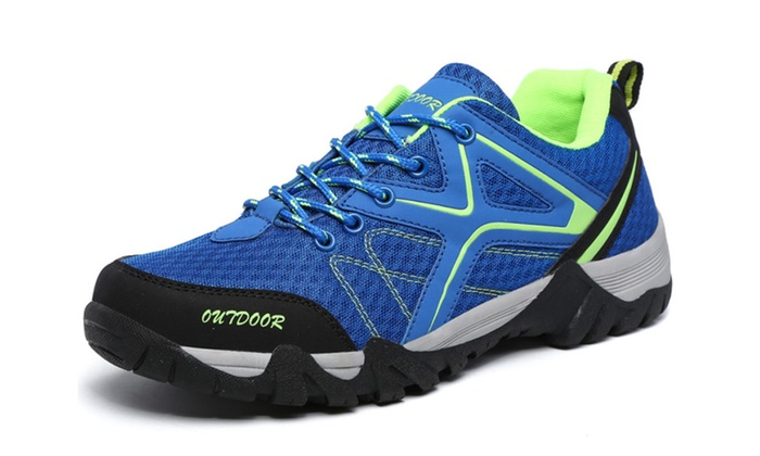 Men's Outdoor Breathable Leather and Mesh Lightweight Hiking Shoes