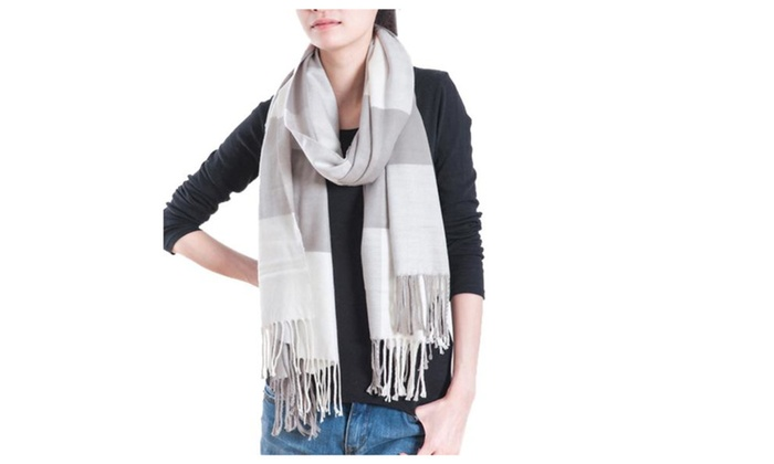 Women's Medium Insulated Tassels Casual Scarf - Black white / One Size