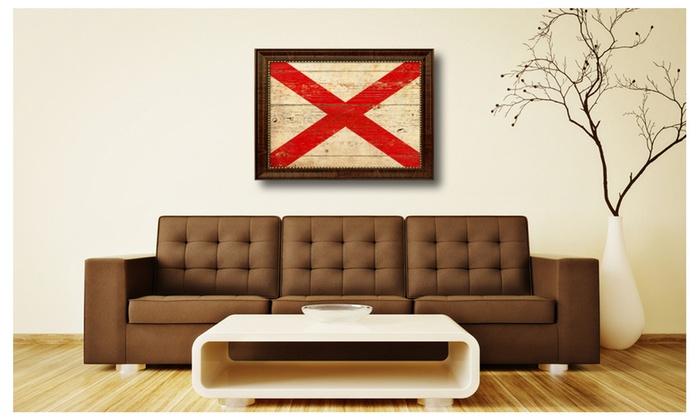 Alabama Wall Decor alabama state flag home décor framed room wall canvas art gift