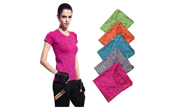 Women Shirts Breathable Sport Fitness Short Sleeve T Shirt Yoga Tops