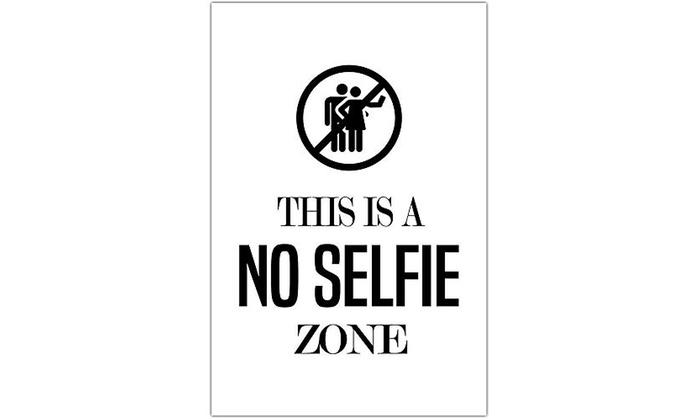 No Selfie Zone Bathroom Humor Wall Art