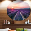Endless Rows of Lavender Flowers' Landscape Metal Circle Wall Art