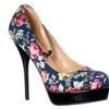Riverberry 'Flirt-3' Floral Print Ankle Strap Platform Pumps, Navy