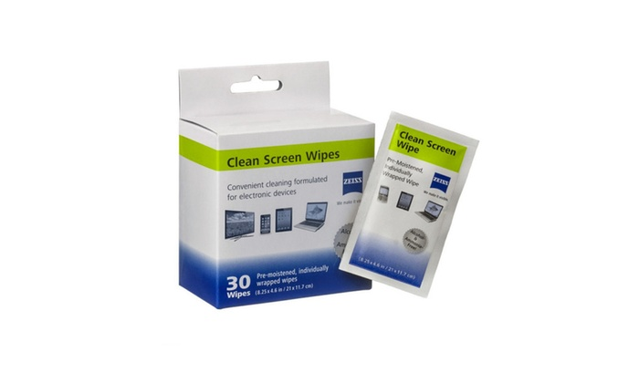 Zeiss Clean Screen 30 CT Wrapped Pre-Moistened Wipes For Lens