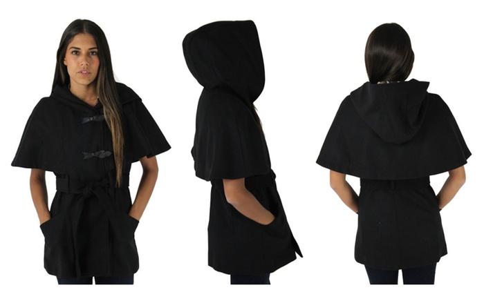 Jessica Simpson Women&39s Hooded Wool Toggle Cape Coat Jacket | Groupon
