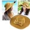 Zodaca Brown Girls String Bowknot Wide Brim Straw Cap Hat One Size