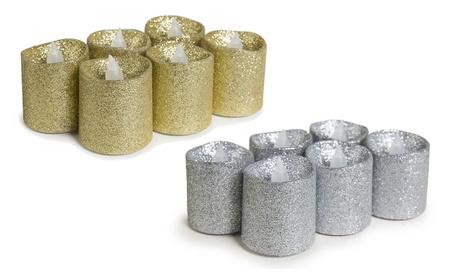 Glitter Tea Light LED Faux Wax Candle 1280ab73-2132-4fa5-b7cf-cb2eb7cd7edb