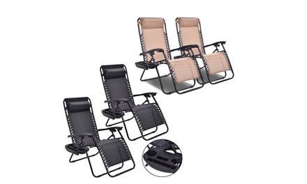 Costway Folding 2PC Zero Gravity Chairs-Beige/Black,Patio Lounge Recliner