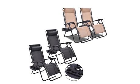 Costway Folding 2PC Zero Gravity Chairs-Beige/Black, Patio Lounge Recliner