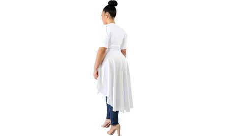 Women's White/Black Puff Long Tail Plus Size Top 8df085a3-39a5-4b0b-8945-4e69bec5be09