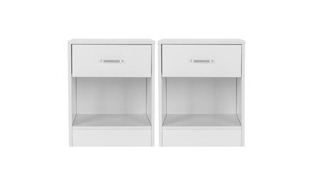 White Set Of 2 Wood Elegant Night Stand W/1 Drawer