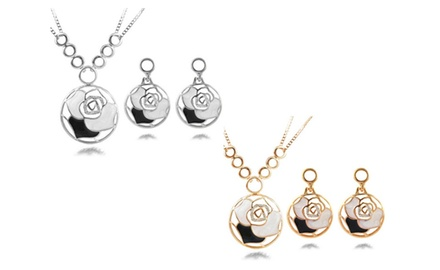 KATGI Fashion Hollow Rose with Austrian Crystal Earrings and Necklace Set