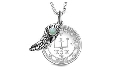 Archangel Raphael Sigil Amulet Magic Powers Angel Wing Charm Pendant Necklace