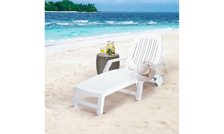 Costway Patio Lounge Chair Chaise Adjustable Recliner Weather Resistant Wheels