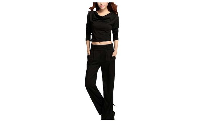 DPN Women's Stretch Lace Up Crop Top Skinny Pants Set