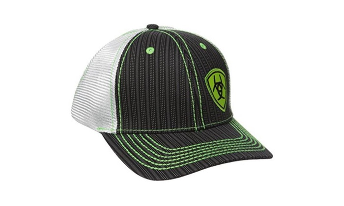 3c2a5f6e4dfd3 M F Western Products 1594001 Ariat Mens Snap Back Pinstripe Lime Shiel