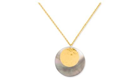 IceCarats Designer Jewelry 10K * 18 40mm MOP w/25mm Hrm Pendant