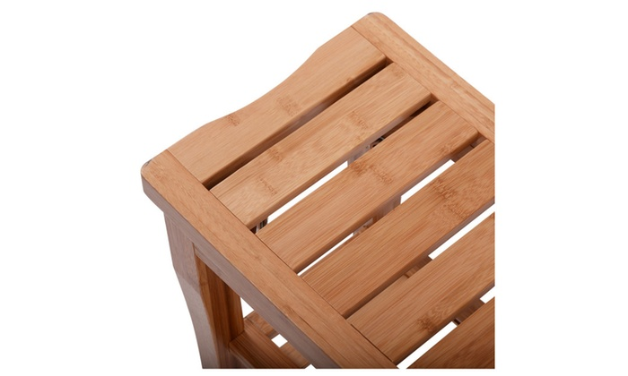 Costway Bamboo Shower Seat Bench Bathroom Spa Bath Organizer Stool ...