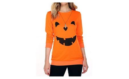 Women's Long Sleeve Halloween Sweatershirts Pumpkin Face T-Shirt