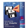 Avery 6490 Laser/Inkjet Removable 3.5in Diskette Labels  White  375 Pa